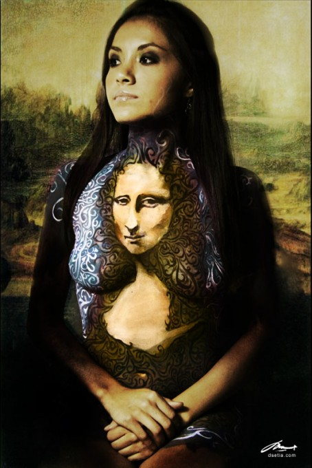 Mona Lisa after da Vinci body painting by Danny Setiawan