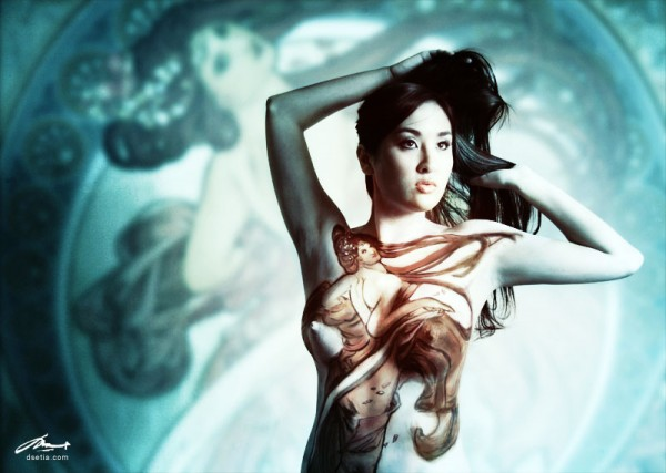 Dance after Mucha body painting by Danny Setiawan
