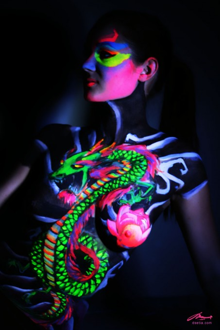 Chinese Dragon UV body painting by Danny Setiawan