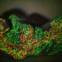 floral UV body painting