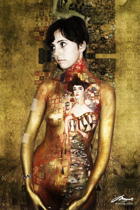 portrait of Adele Bloch Bauer body painting by Danny Setiawan