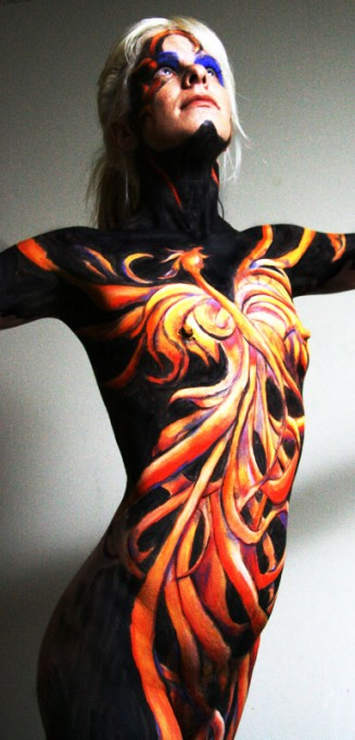 Phoenix body painting by Danny Setiawan