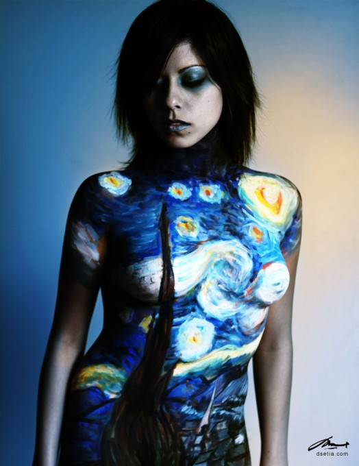 Starry Night after Van Gogh body painting by Danny Setiawan