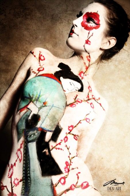 Sakura body painting by Danny Setiawan