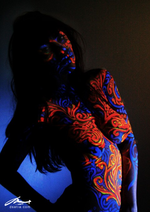 Glowing Fluorish body painting by Danny Setiawan