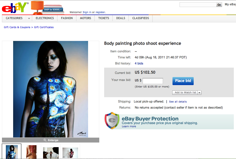 Ebay auction: Body painting photo shoot by DENART NY