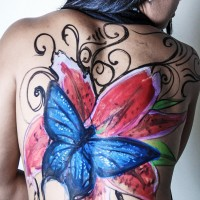 butterfly and flower non-nude body painting design ideas