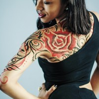 victorian rose non-nude body painting idea