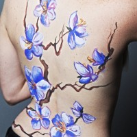 orchid non-nude body painting idea