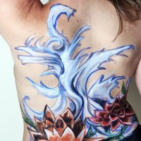 lotus and wave non-nude body painting idea