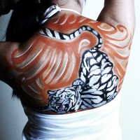 white tiger non-nude body painting idea