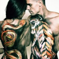 dragon and tiger body painting for couple