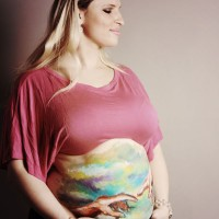 Michelangelo maternity belly painting