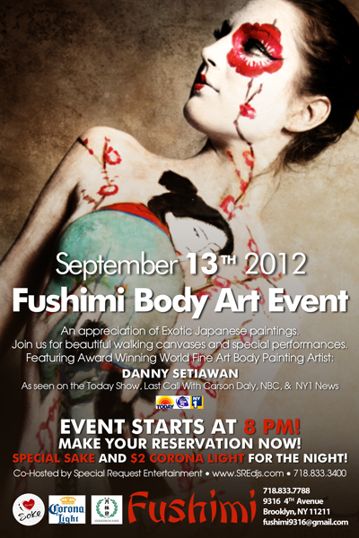 Fushimi body painting event flyer
