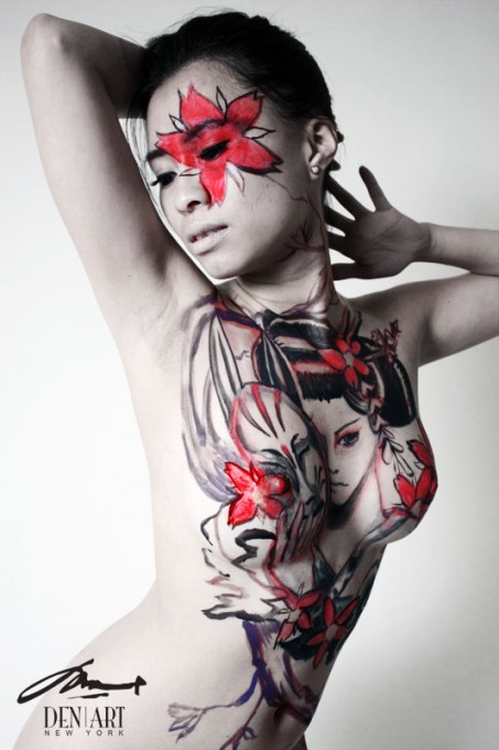 Unmasked evil geisha body painting by Danny Setiawan
