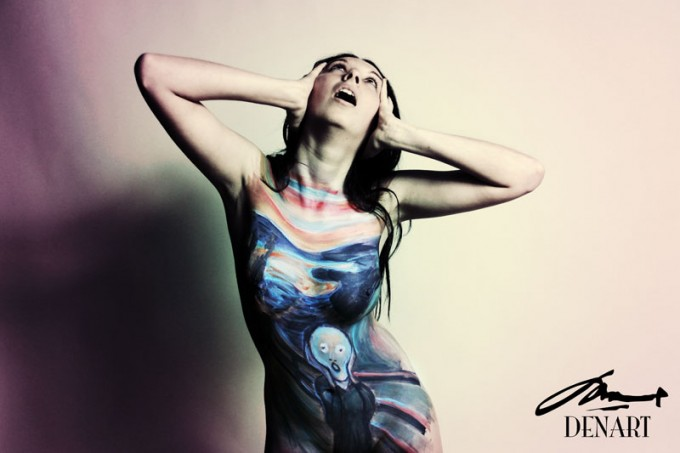 The Scream body painting by Danny Setiawan of DenArt body art studio