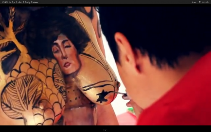 screen shot of video profile of Danny as body painter