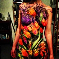 tulips body painting by DenArt studio in NYC