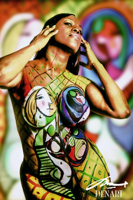 Girl before a mirror body painting by Danny Setiawan