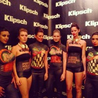 All six models in front of the Klipsch brand wall for the Klipsch + Kings of Leon event. Body painting by DenArt studio. #bodypainting #bodyart #bodyartgallery #nyc