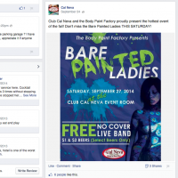 Cal Neva facebook page promoting body paint event