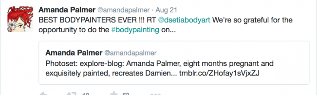 twitter thanking body painter from Amanda Palmer