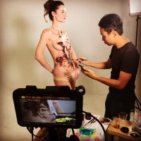 behind-the-scene chocolate body painting