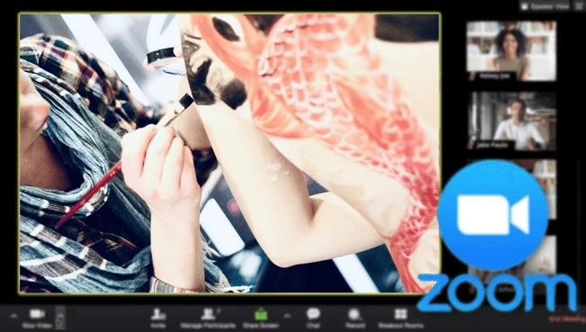 Koi Body painting in progress on Zoom video call